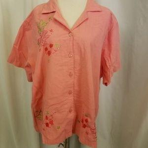 vintage Tops - VTG plus 2x orange 80s embroidery flowers s/s top
